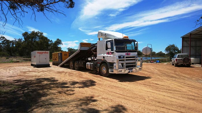 Panoramic image  of  slide truck in Perth blue sky
