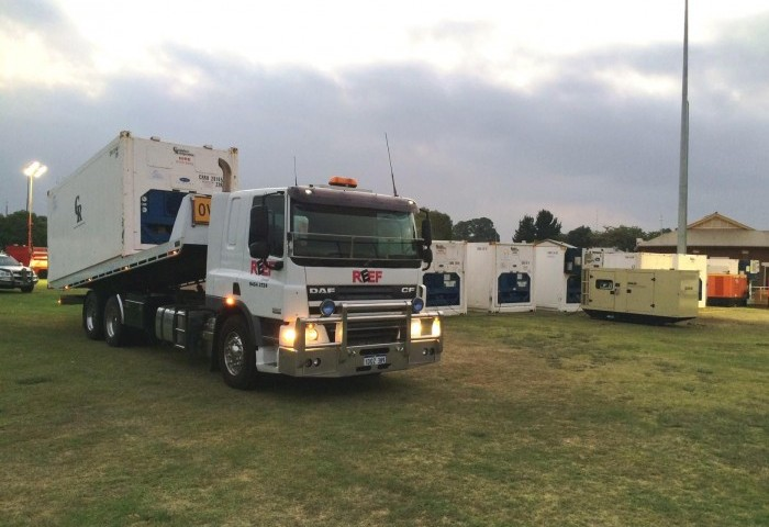 Image of our tilt tray delivering to assist with the South West Fires