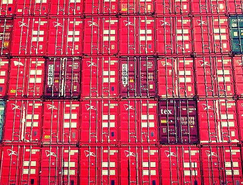 Red Sea Containers waiting to be transported across Perth